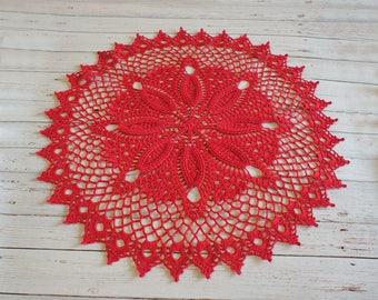 Crochet doily Red Flower, lace doily, red doily 18,11 inches