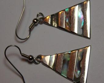 Vintage Alpaca And Abalone Dangle Earrings For Repair