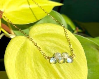 Moonstone Hearts Necklace