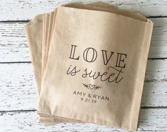 Wedding Favor Bag,  Personalized Wedding Favor Bag, Personalized Favor Bag, Love is Sweet Personalized Favor Bag, Set of 10, 25, 50