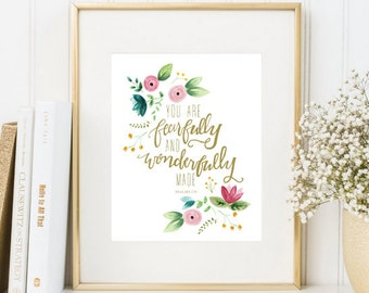 Nursery scripture print, 8x10, printable, Psalms 139, You are fearfully and wonderfully made, watercolor flowers, pink gold nursery