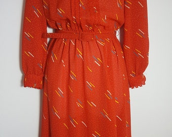 Vintage Lady Carol Petites New York Red Secretary Dress Size S Red Ruffled Belted  9475