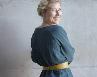 Leather corset belt, waist belt, obi belt in curry