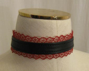 Black Leather and Red Wine Lace Choker