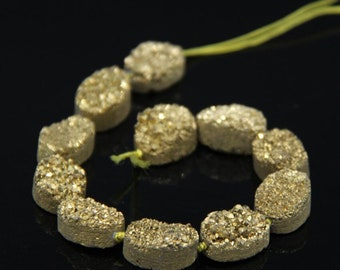 11PCS strand,Gold Titanium 13x18mm Natural Quartz Geode Drusy Flat Oval Slice Cabochons,Raw Agate Druzy Slab Nugget Beads Pendants Jewelry