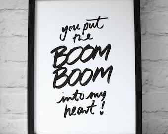 Boom Boom Typographic Print