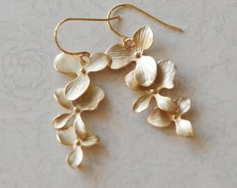 Gold Bridal Earrings Cascading Orchid Earrings Bridesmaid Gift for Her Bridesmaid Earrings Long Earrings Floral Earrings Destination Wedding