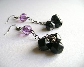 Eclectic - Deep intense purple black unique long earrings