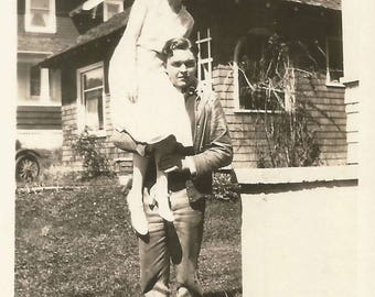 "Vintage Snapshot ""Light As A Feather"" Lovely Girl Perched On Man's Shoulder Found Vernacular Photo"