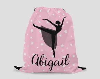 Ballet Drawstring Backpack - Ballerina on Pink Stars - Personalized Bag - Ballet Bag - Sports Bag - Beach Bag