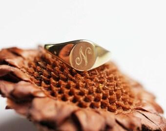 Signet Ring, Gold Signet Ring, Oval Signet Ring, Initial Signet Ring, Gold Ring, a, b, c, d, e, f, g, h, j, k, l, m, n, o, p, r, s, t, v, w