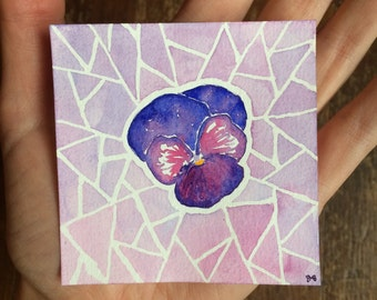 Small Watercolor Painting - Purple Pansy