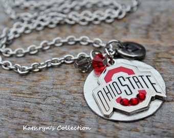 Ohio state buckeyes necklace with ohio state beads and ohio ohio state necklace buckeyes necklace ohio necklace ohio state jewelry buckeyes fan aloadofball Image collections