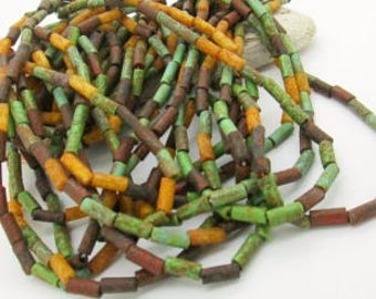 """Czech Glass Rustic Picasso Tube Beads, Glass Tube Beads, Southwest Tube Bead, Multicolor Tube Bead, 9x4mm (20"""" strand)"""