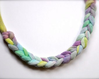 Fabric statement necklace - ombre braided purple teal chartreuse