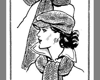 Instant Download Vintage Mail Order Crochet Warm Hat & Scarf Set Crocheting pattern # 534 PDF Delivery