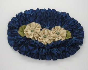 Oval Shaped Frilly Ribbonwork Applique Blue and Champagne