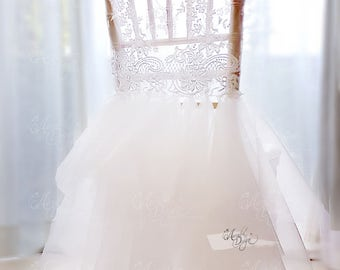 Ballerina Tutu Lace Chair Cover & Optional Butterfly Crystal Brooch | Chiavari Chair Slipcover for Sweet 16 Birthday Party Bridal Shower