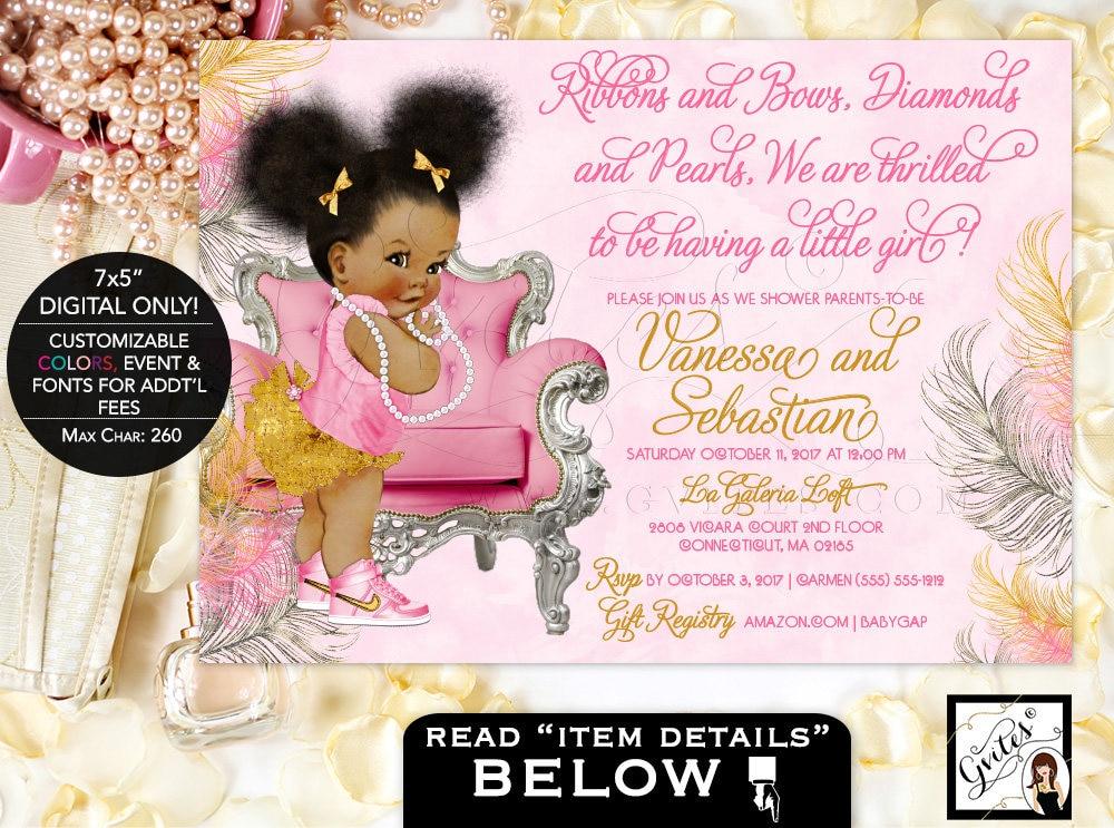 Pink silver baby shower invitation baby girl invites african pink silver baby shower invitation baby girl invites african american ribbons bows diamonds pearls afro puffs gvites pinksilvergold filmwisefo