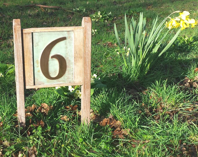 "Yard Garden House Sign number 6""/150mm in Copper with oak frame and posts 1 x no in Garamond, unique on the web"