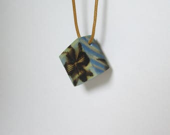 My little blue box, wood, stained and pyrographed pendant