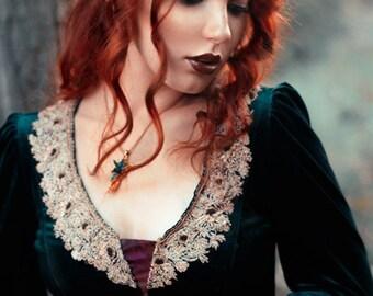 Dark green velvet  embroidered elven dress