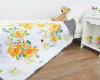Floral Baby Quilt with Yellow Roses, Perfect for a Floral Nursery or a Cottage Chic Nursery; Modern Quilt Makes a Beautiful Baby Gift