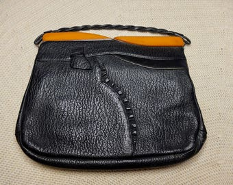 Black Leather 1930s Vintage Clutch Handbag with Tan Early Plastic (Bakelite possibly) and Metal Clasp