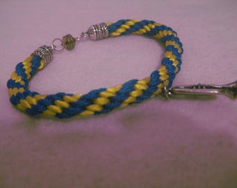 Kumihimo bracelet blue yellow, silver colored endcaps and magnetic clasp, trumpet
