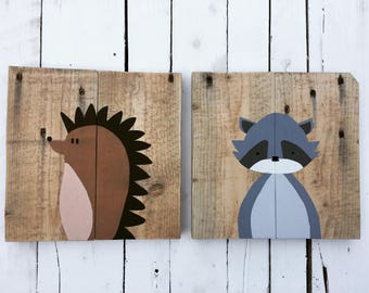 Animal Friends on wood