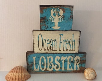 Ready To Ship - Ocean Fresh Lobster, set of 3 blocks, Beach decor, ocean decor, lobsters, RTS
