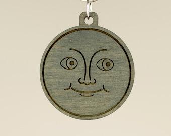 New Moon Emoji Keychain - Moon Emoji Carved Wood Key Ring - Dark Moon Face Emoji Wooden Engraved Charm