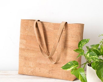 Vegan bag, shopper bag, cork bag, cork handbag, vegan tote bag, shopping bag, vegan leather bag, shoulder bag, vegan purse, vegan gift