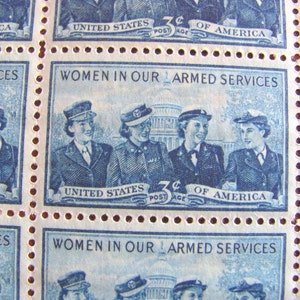 Real Women 50 Vintage UNused US Postage Stamps Women in our Armed Services 3c Blue Wedding Postage RTOC LGBTQ Lesbian Feminist Suffragist