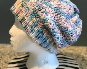 Crocheted V-Stitch Slouchy Hat