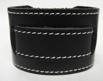 Stitched Classic Black Buckle Wide Genuine Leather Watchband Military Biker Rocker USA NYC Hipster Steampunk Cuff Band Bracelet wristband