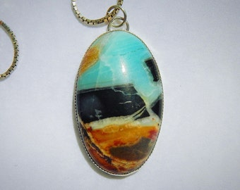 Amazonite Oval Stone Pendant of Earth and Sky Sterling Silver Setting and Sterling Box Chain