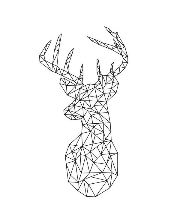 Deer And Doe Geometric Prints Origami Modern Home Decor