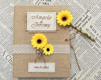 Rustic Wedding Guest Book and Pen Set,Sunflower Wedding Guest Book,Sunflower Pen,Burlap Guest Book for Rustic and Sunflower Wedding.
