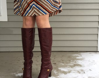 Vintage 1970s Tall Leather Boots, Women's Size 8, Vintage Johansen Boots, Vintage Brown Leather Boots, High Heeled Boots, Cognac Brown Boots