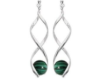 Silver plated swirl earrings - malachite
