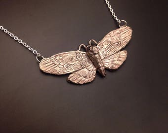 Deaths' head moth necklace in sterling silver or white bronze
