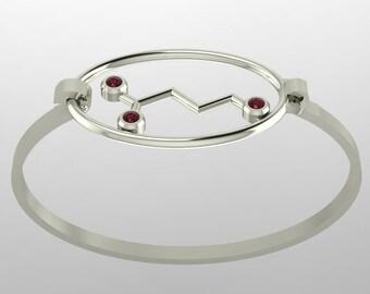 "Molecule Gaba ""calm"" sterling silver bangle bracelets set with birthstones - Molecular Bliss"