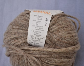 Savanna, yarn, Color: Stone, Alpaca, Linen, Wool etc, 1.9 oz . item# 0430A