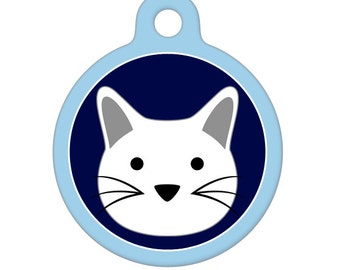 Pet ID Tag - White Kitty Cat Pet Tag, Dog Tag, Cat Tag