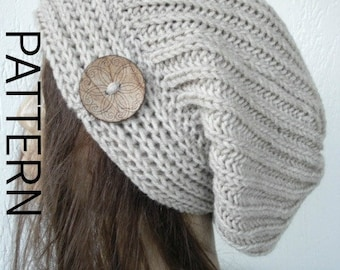 Winter hat  Pattern Instant Download Knit hat pattern- Digital  Hat Knitting PATTERN Slouchy Hat with Button  Brioche Stitche  hat  Pattern