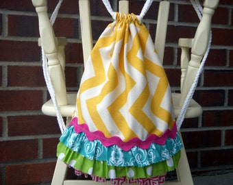 Drawstring Ruffle Backpack - Children's Size Backpack - Yellow Chevron - Ready to Ship