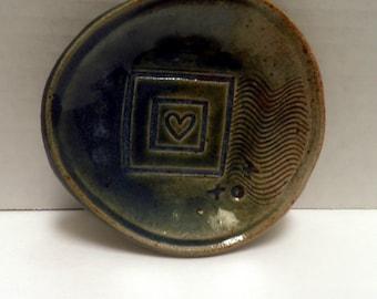 small handmade Ceramic dish, love sentiment, heart design