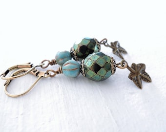 Teal Green Turquoise Dangle Earrings Ivy Leaf Earrings Boho Brass and Glass Earrings Czech Glass Dangles Garden Inspired Gift for Her