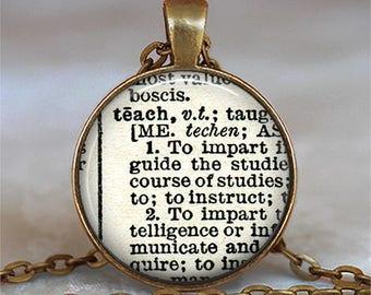 "Teach dictionary necklace, ""Teach"" dictionary pendant teacher's gift dictionary word jewelry gift for teacher key chain key ring key fob"